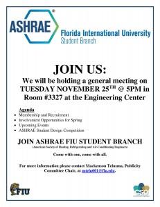 ASHRAE General Meeting 25 Nov 2014